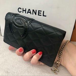 CHANEL Black Leather Cambon CC Logo Yen Wallet